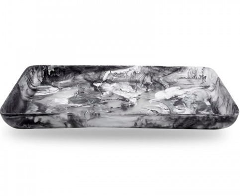 SWIRL RESIN RECTANGLE TRAY | BLACK | VARIOUS SIZES