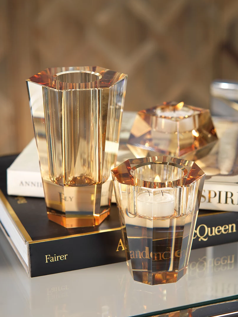 RITA CRYSTAL TEALIGHT HOLDER | AMBER