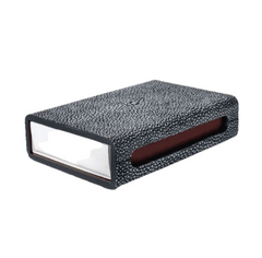 FAUX SHAGREEN MATCH BOX - GREY