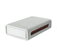 FAUX SHAGREEN MATCH BOX - WHITE