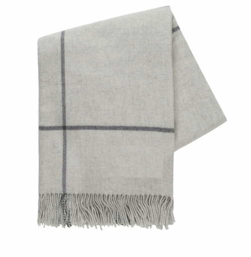 WINDOWPANE CASHMERE THROW | LIGHT GREY & CHARCOAL