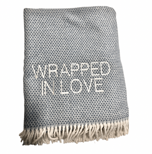 WRAPPED IN LOVE THROW | GRAIN OF RICE | SLATE BLUE & IVORY