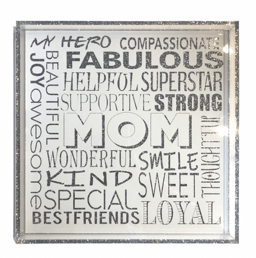 "MOM IS EVERYTHING SQUARE TRAY | SILVER GLITTER | 12""x12"""