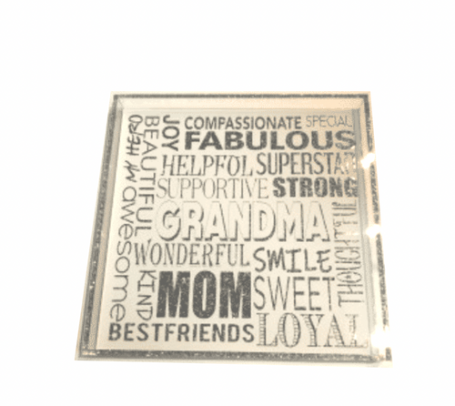 "GRANDMA IS EVERYTHING | SILVER GLITTER | 12"" x 12"" SQUARE ACRYLIC TRAY"