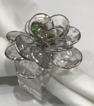 LUCITE FLOWER NAPKIN RING