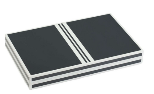 BACKGAMMON SET LACQUER | GREY & WHITE