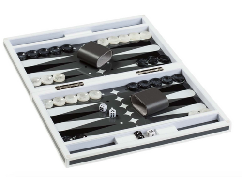 LACQUER BACKGAMMON SET | GREY & WHITE