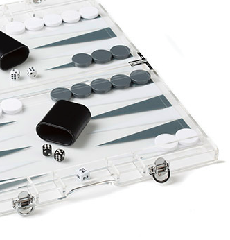 LUCITE BACKGAMMON SET | LARGE | GREY