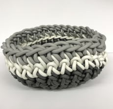 "CROCHET RUBBER BOWL | 12"" GREY /WHITE /PEARL GREY"