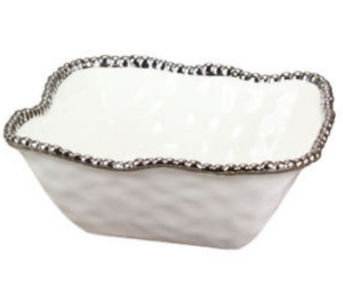 SALERNO SQUARE BOWL | MEDIUM | WHITE & SILVER