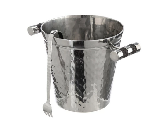 SHAGREEN HANDLE ICE BUCKET W/ TONGS | GREY
