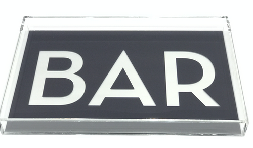 DOWNTOWN BAR TRAY LARGE | CHARCOAL & MIRROR