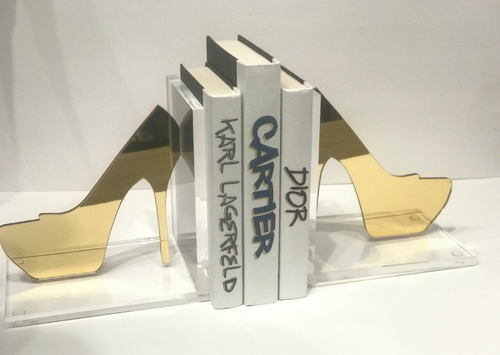EYE CANDY BOOKENDS | STILETTO HIGH HEELS | GOLD MIRROR