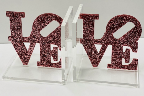 LOVE BOOKENDS | PINK GLITTER FLAKE