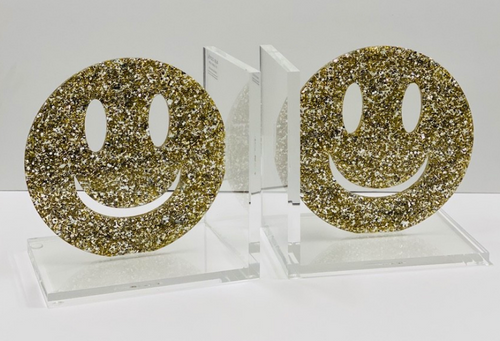 SMILEY BOOKENDS | GOLD GLITTER FLAKE