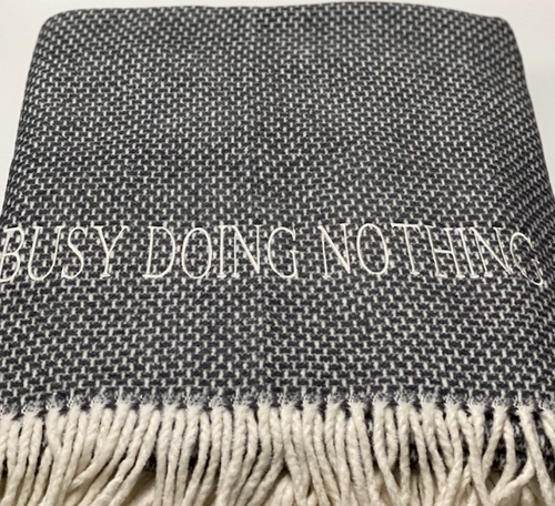 THROW BLANKET | BUSY DOING NOTHING | DARK GREY