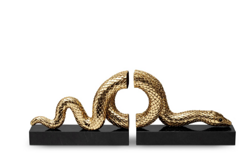 SNAKE BOOKEND SET | L'OBJET | GOLD