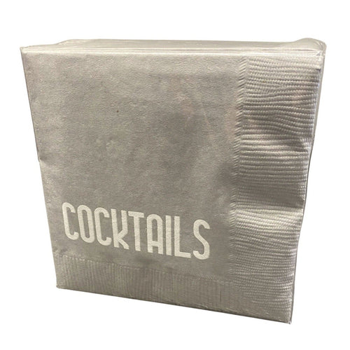 COCKTAIL NAPKIN PACK | COCKTAILS | SILVER/WHITE