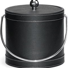 FAUX LEATHER STITCHED ICE BUCKET | BLACK | 3 QT