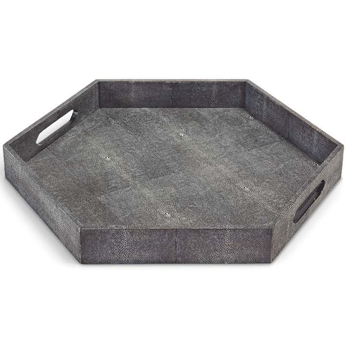 HEXAGON SHAGREEN TRAY | CHARCOAL