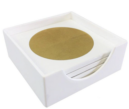 CIRCLE IN A SQUARE COASTER SET | WHITE/GOLD