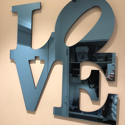 LOVE SQUARE MIRROR ART | EYE CANDY | BLUE