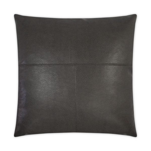 RADEO FAUX LEATHER PILLOW | GREY | 24 x 24