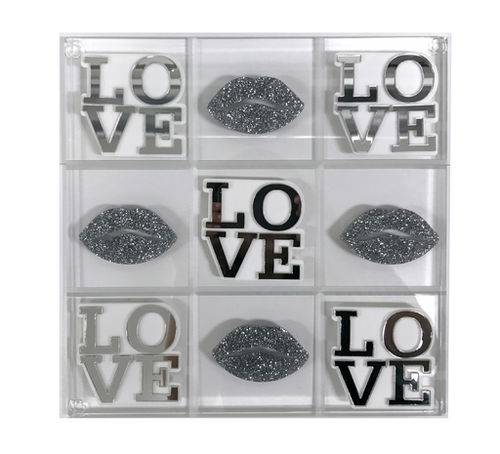 ACRYLIC TIC TAC TOE SET | SILVER LOVE & LIPS