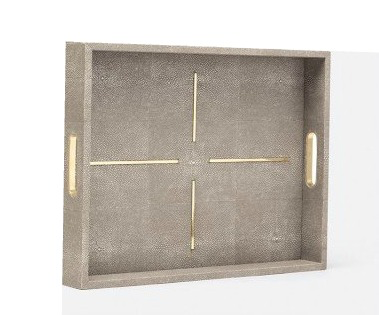 FAUX SHAGREEN & BRASS TRAY | SMALL | SAND