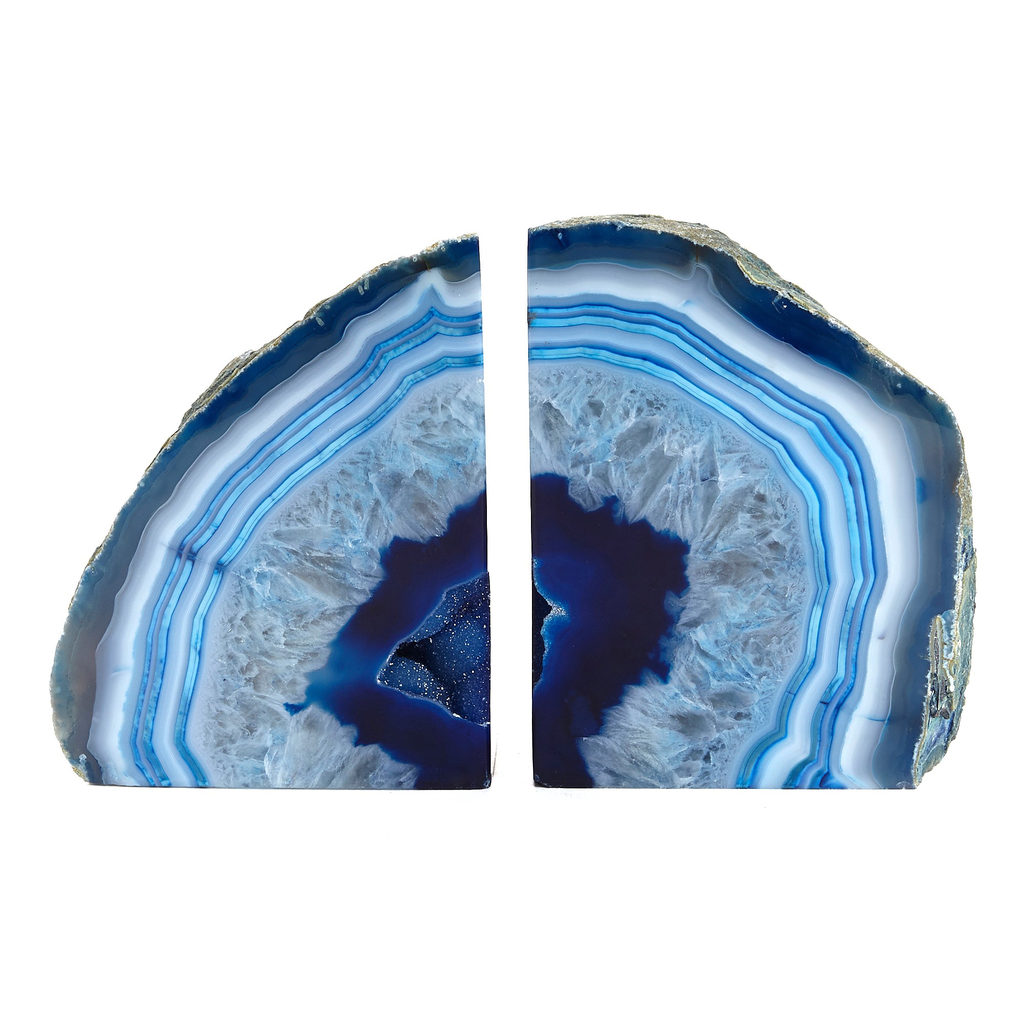 AGATE BOOKEND SET | BLUE