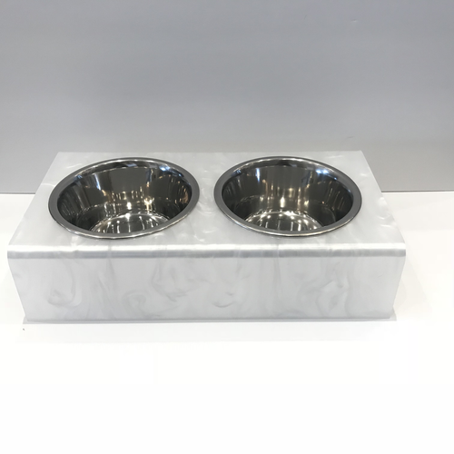 DOG BOWL | WHITE MARBLE