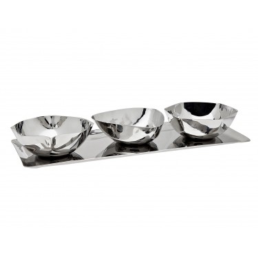 AUBURN 3 PART SNACK DISH w/TRAY