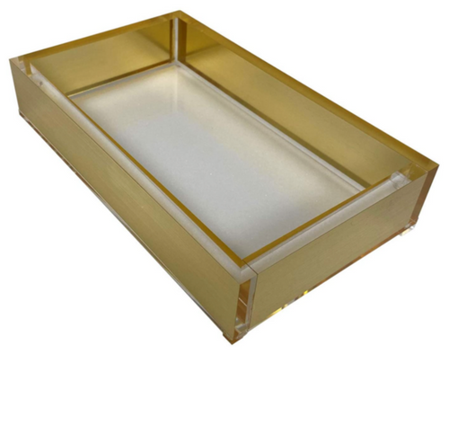 ACRYLIC GUEST TOWEL TRAY |  GOLD