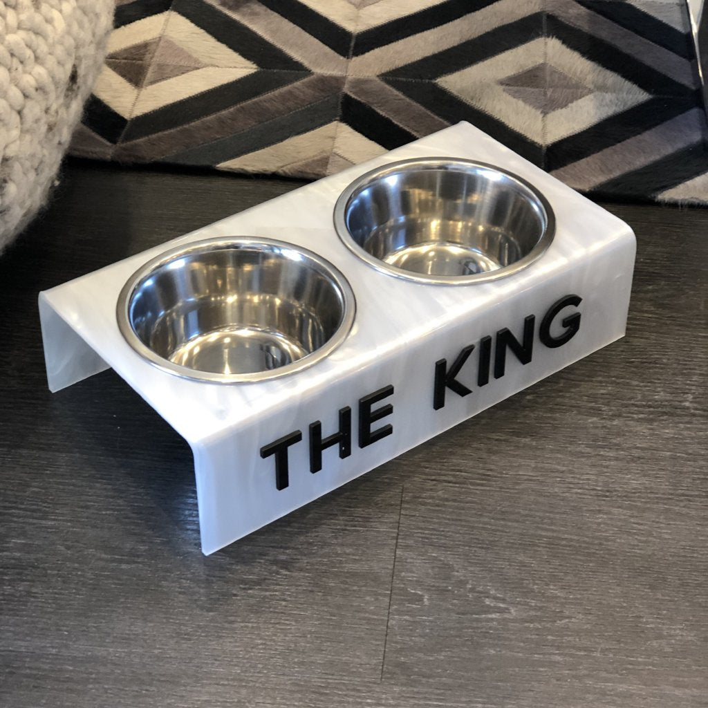white marble king dog bowl