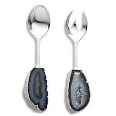 SCOSSA CRYSTAL SALAD SERVERS | SMOKE