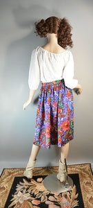 Hawaiian Batik Print Skirt// 80s Secretary Skirt// Great Summer Skirt Batik Print (F1)