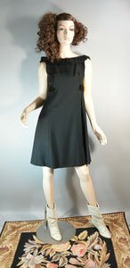 60s Mod Cocktail Dress// Mini 60s Dress// Ruffly Empire Waist Dress// Little Black Dress Small (F1)