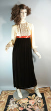 60s Velvet Maxi Dress// Long Ruffle Dress// Tuxedo Dress// Small Formal Dress