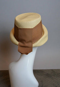 Early 1900s Straw Hat// Womens Garden Party Straw Hat// Vintage Turn of the Century Hat with Ribbon (F1)
