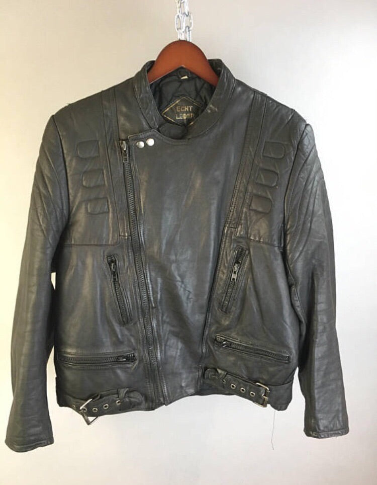 Vintage Motorcycle Jacket// 80s Cafe Racer Jacket// Real Leather Motorcycle Jacket (F1)