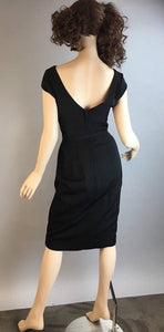 Vintage Cocktail Dress// Little Black Holiday Dress// 60s Kay Selig Wiggle Dress (F1)