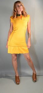 90s Tennis Dress// 90s Johnney Girl Dress// Polo Style Dress// Bright Yellow Dress (F1)