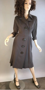 40s R&K Originals Vintage Dress// Vintage Wool Dress Giant Buttons// 40s Sheath Dress (F1)