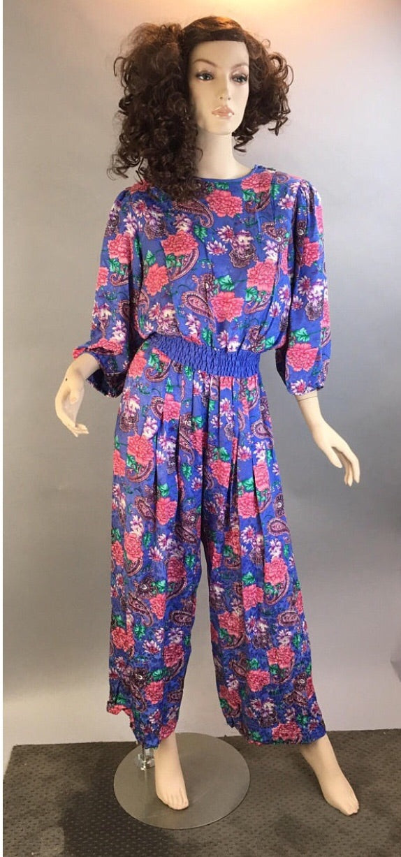 Totally 80s Jumpsuit// All Silk 80s Jumpsuit// Power Shoulder jumpsuit Diane Fries (F1)