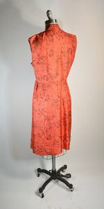 Silk 50s Dress// Mad Men Dress// Coral Red Evening Dress (F1)