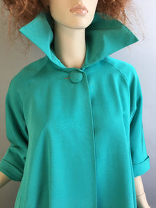 Vintage Turquoise Opera Coat// Taffeta 60s Swing Coat// Vintage 60s Lightweight Formal Jacket (F1)