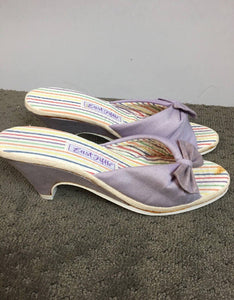 70s Purple Spring Sandals// Slip on Canvas Pumps// Wedge Sandal Slip on Size 7.5M(F1)