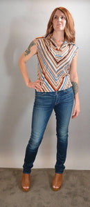 Jodi T of California Top// Striped 70s Top// Disco 70s Blouse (F1)