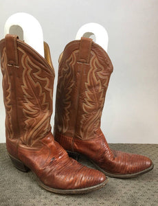 Vintage Justin Cowboy Boots// 80s Urban Cowboy Lizard Skin and Leather Boots// Western Boot Mens 10.5 R (F1)
