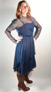Navy Blue Chiffon Cocktail Dress// Pleated Evening Gown// Chiffon 60s Dress (F1)